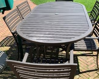 """Table with 6 chairs - Crate and Barrel.  MEASUREMENTS:  Table - 29 1/2""""H x 79""""L x 42""""W.  Chairs - 33 1/2""""H x 22""""W x 23""""D.   $850"""