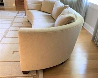 """Alternate view - Curved Interior Crafts sofa with down filled cushions. MEASUREMENTS:  27 1/2""""H x 96""""L x 42""""D.   $1200."""