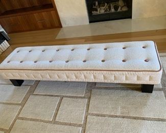 """Wittmann bench from Manifesto of Chicago. MEASUREMENTS:  15""""H x 72""""L x 19 1/2""""W.   $650."""