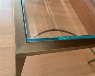 """Alternate view - Baker bronze and glass coffee table.  MEASUREMENTS:  17""""H x 48""""L x 24""""D.   $350"""