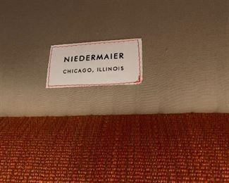 """Alternate view - Niedermaier Orange Side Chair with down filling.  MEASUREMENTS:  34""""H x 28""""W x 30""""D.   $600"""