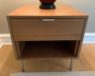 """Pair of Room and Board nightstands in Walnut with matt stainless handles.  MEASUREMENTS:  22 1/2""""H x 22""""L x 20 1/2""""W.   $500 for the pair."""