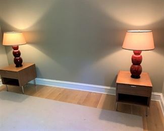 """Alternate view - Pair of Room and Board nightstands in Walnut with matt stainless handles.  MEASUREMENTS:  22 1/2""""H x 22""""L x 20 1/2""""W.   $500 for the pair."""