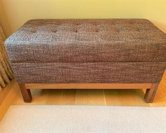 """Custom made bench by Mark Roe of The Furniture Shop.  MEASUREMENTS:  18""""H x 35 1/2""""L x 17 1/2""""D.   $375"""