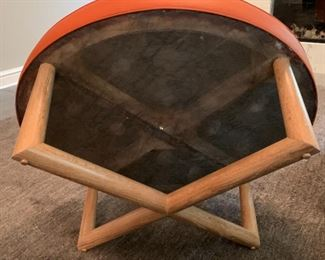 """Alternate view - Bright Chair Company leather upholstered ottoman.  MEASUREMENTS:  16 1/2""""H x 42""""D.   $525"""
