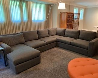 """Room and Board sectional with custom fabric and down filled cushions.  MEASUREMENTS:  Chaise - 33 1/2""""H x 33 1/2""""W x 63 1/2""""L.  Mid-Section 33 1/2""""H top of back, 20 1/2""""H from floor to seat, 62 1/2""""L. Corner Piece: 33 1/2""""H top of back, 20 1/2""""H from floor to seat, 42"""" Square, Left Arm Piece: 33 1/2""""H top of back, 20 1/2""""H from floor to seat, 67 1/2"""" L.   PRICE: $1400"""
