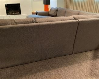 """Alternate view - Room and Board sectional with custom fabric and down filled cushions.  MEASUREMENTS:  Chaise - 33 1/2""""H x 33 1/2""""W x 63 1/2""""L.  Mid-Section 33 1/2""""H top of back, 20 1/2""""H from floor to seat, 62 1/2""""L. Corner Piece: 33 1/2""""H top of back, 20 1/2""""H from floor to seat, 42"""" Square, Left Arm Piece: 33 1/2""""H top of back, 20 1/2""""H from floor to seat, 67 1/2"""" L.   PRICE: $1400"""