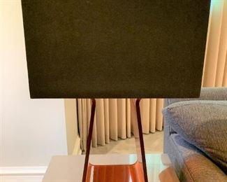 "Pablo Tube Top table lamp in orange - needs rewiring.  MEASUREMENTS:  26 1/2""H.  Shade 18""L x 8 3/4""W.  $75"