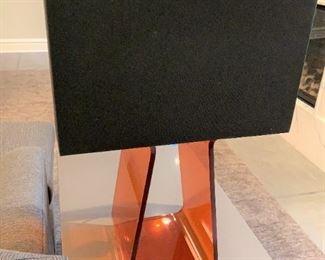 "Alternate view - Pablo Tube Top table lamp in orange - needs rewiring.  MEASUREMENTS:  26 1/2""H.  Shade 18""L x 8 3/4""W.  $75"