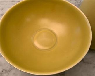 "Alternate view - Klein Reid pottery vase and bowl on wood pedestal.  MEASUREMENTS:  Vase 16""H, Bowl 7""H x 8""W.   $125"