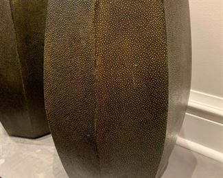 """Alternate view - Set of Chinese drum style leather stools.  MEASUREMENTS:  18""""H x 10 1/2""""W.   Pair - $150"""