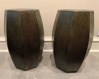 """Set of Chinese drum style leather stools.  MEASUREMENTS:  18""""H x 10 1/2""""W.   Pair - $150"""