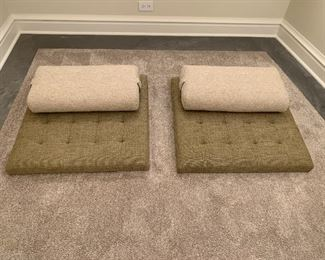 """Alternate view - Pair of custom made meditation mats with pillows.  MEASUREMENTS:  Mats measures 30"""" x 30"""".   Pair $400   Separately $250 Ea."""