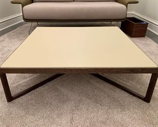 """Leather top Knoll coffee table with solid walnut base.  MEASUREMENTS:  10""""H x 35 1/2"""" x 35 1/2"""".   $550"""