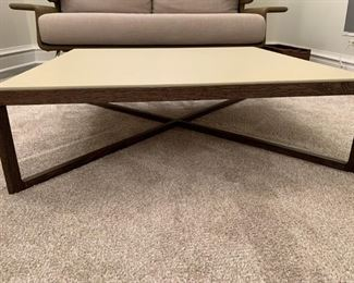 """Alternate view - Leather top Knoll coffee table with solid walnut base.  MEASUREMENTS:  10""""H x 35 1/2"""" x 35 1/2"""".   $550"""