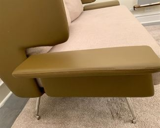"""Alternate view - Knoll leather sofa with chrome legs.  MEASUREMENTS:  37""""H x 69""""W x 35""""D.  $2000"""