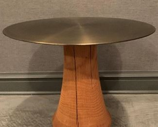 """Chinese Brass side table with solid wooden base.  MEASUREMENTS:  21 1/2""""H x 21 1/2""""D.   $150"""