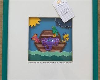 "Noah's Ark multimedia art.  MEASUREMENTS:  13"" x 13"".  $20"