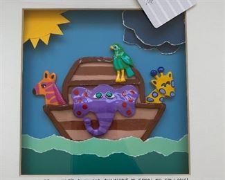 "Alternate view - Noah's Ark multimedia art.  MEASUREMENTS:  13"" x 13"".  $20"