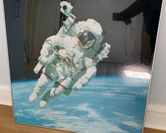 "Astronaut framed print.  MEASUREMENTS:  31 1/2"" x 31 1/2"".  $20."