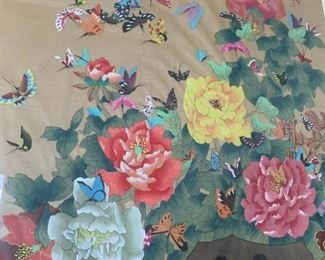 """Alternate view - 100 Painted Butterflies on Silk from China.  Large and heavy piece. MEASUREMENTS:  51""""H x 30""""W x 2""""D.   $200"""