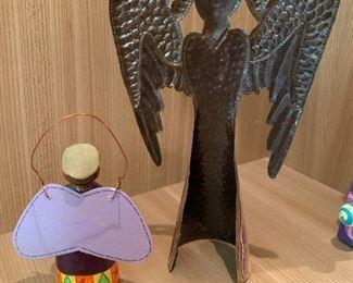 "Alternate view - Pair of angel figurines.  MEASUREMENTS:  12""H x 7""W. Smaller piece 5 1/4""H.  $25"