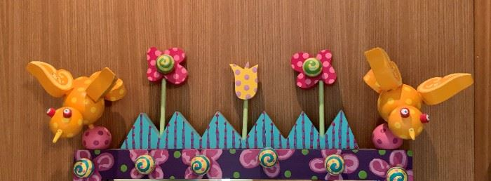 """Alternate view - Artisan crafted birds and flowers mirror.  MEASUREMENTS:  30""""H x 21""""W.   $75"""