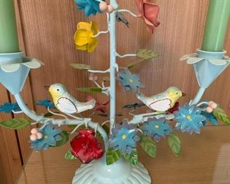 """Painted metal birds and flowers candleabra.  MEASUREMENTS:  11 1/2""""H x 11""""W.   $25"""