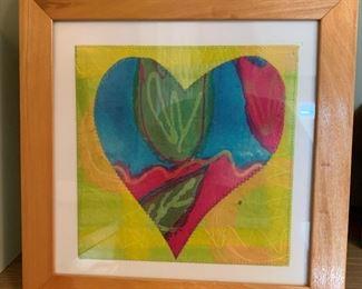 "Framed textile heart .  MEASUREMENTS:  14 1/2"" x 14 1/2"".   $20"