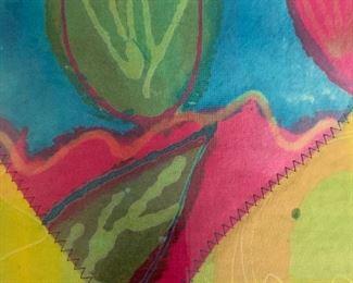 "Allternate view - Framed textile heart .  MEASUREMENTS:  14 1/2"" x 14 1/2"".   $20"