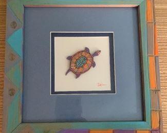 "Multimedia artisan created turtle art.  MEASUREMENTS:  9 1/2"" H x 9 1/2""W.   $35"