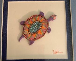 "Alternate view - Multimedia artisan created turtle art.  MEASUREMENTS:  9 1/2"" H x 9 1/2""W.   $35"