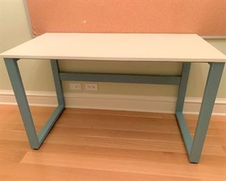 """Desk with solid surface top on metal base.  MEASUREMENTS:  24""""H x 30""""L x 20""""D.   $150"""