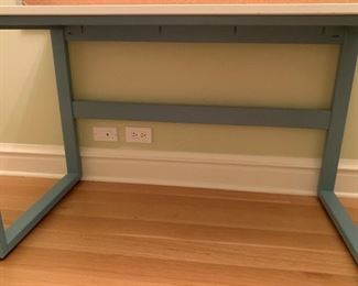 """Alternate view - Desk with solid surface top on metal base.  MEASUREMENTS:  24""""H x 30""""L x 20""""D.   $150"""