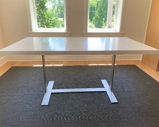 """Solid surface table on metal base.  MEASUREMENTS:  30""""H x 66""""L x 36""""W.    $750"""