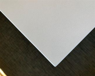 """Alternate view - Solid surface table on metal base.  MEASUREMENTS:  30""""H x 66""""L x 36""""W.    $750"""