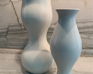 "Pair of Klein Reid Eva Diesel Pottery vases.  MEASUREMENTS:  Tall Vase 12""H.  Shorter vase 9 1/2""H.   $150"