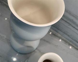 "Alternate view - Pair of Klein Reid Eva Diesel Pottery vases.  MEASUREMENTS:  Tall Vase 12""H.  Shorter vase 9 1/2""H.   $150"