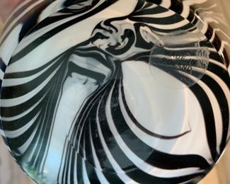 "Alternate view - Makora art glass ewer and bowl.  MEASUREMENTS:  Ewer 12 1/2""H x 5 1/2""W.  Bowl 5""H x 8 1/2""W.   The Pair $150"