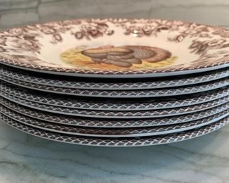 "Alternate view - Spode Woodland Turkey dinner plates - set of 8.   MEASURES:  10 1/2""    8 for $100"
