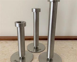 "Trio of Blumus candlesticks.  MEASUREMENTS:  Tallest 8  3/4""H.   $75"