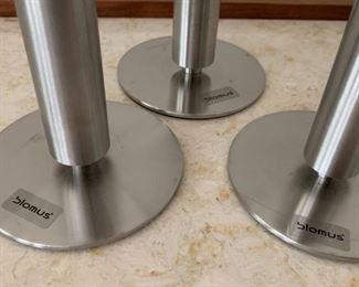 "Alternate view - Trio of Blumus candlesticks.  MEASUREMENTS:  Tallest 8  3/4""H.   $75"