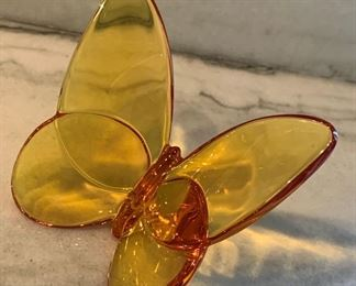"""Alternate view - Baccarat butterfly.  MEASUREMENTS:  3 1/2""""W.   $75"""