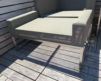 """Alternate view - Pair of outdoor chair and ottoman - comes with cushions.  MEASUREMENTS:  Chair - 24 1/2""""H x 31""""W x 32 1/2""""D. Ottoman - 15 1/2""""H x 31""""W x 18""""D.  $700 for the pair - or $400 for one chair and ottoman."""