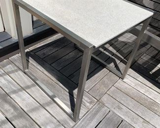 """Alternate view - Pair of chrome and granite side tables.  MEASUREMENTS:  19""""H x 19"""" x 19"""".  $225"""