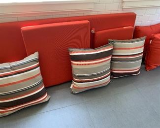 Seat cushion and pillows for love seat. Seat cushions for chairs.
