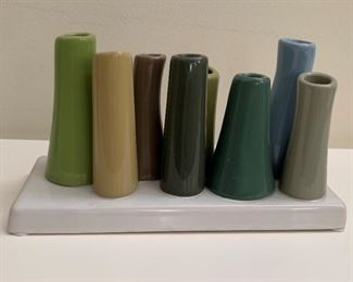"Small ceramic sculpture bud vase.  MEASUREMENTS:  3 3/4""H x 7 1/4""W.  $5"