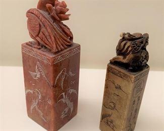 "Pair of stone seals.  MEASUREMENTS:  Tallest 4""H.  $25"