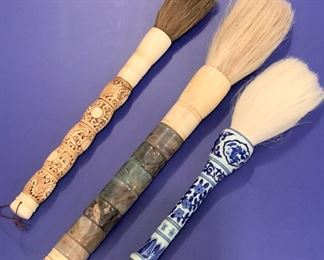 """Three large vintage Japanese calligraphy brushes.  MEASUREMENTS:   Largest 16""""Long by 1 1/2""""W.   All for $300."""