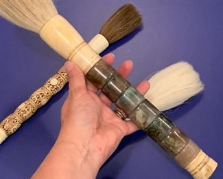 """Alternate view - Three large vintage Japanese calligraphy brushes.  MEASUREMENTS:   Largest 16""""Long by 1 1/2""""W.   All for $300."""